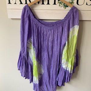 Indah xs purple green tie dye tunic